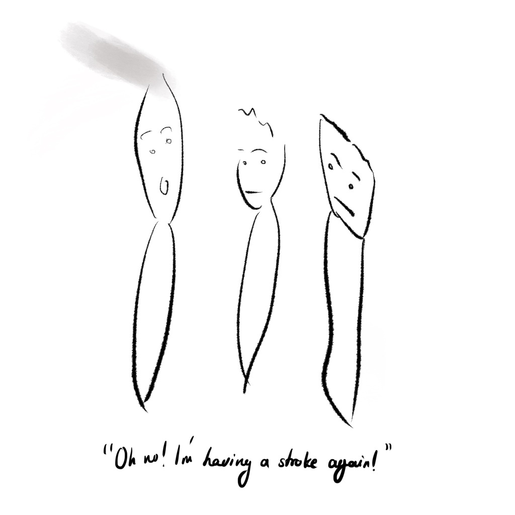 "Illustration of three brushes, one of them being used to paint and it says ""Oh no! I'm having a stroke again!"""