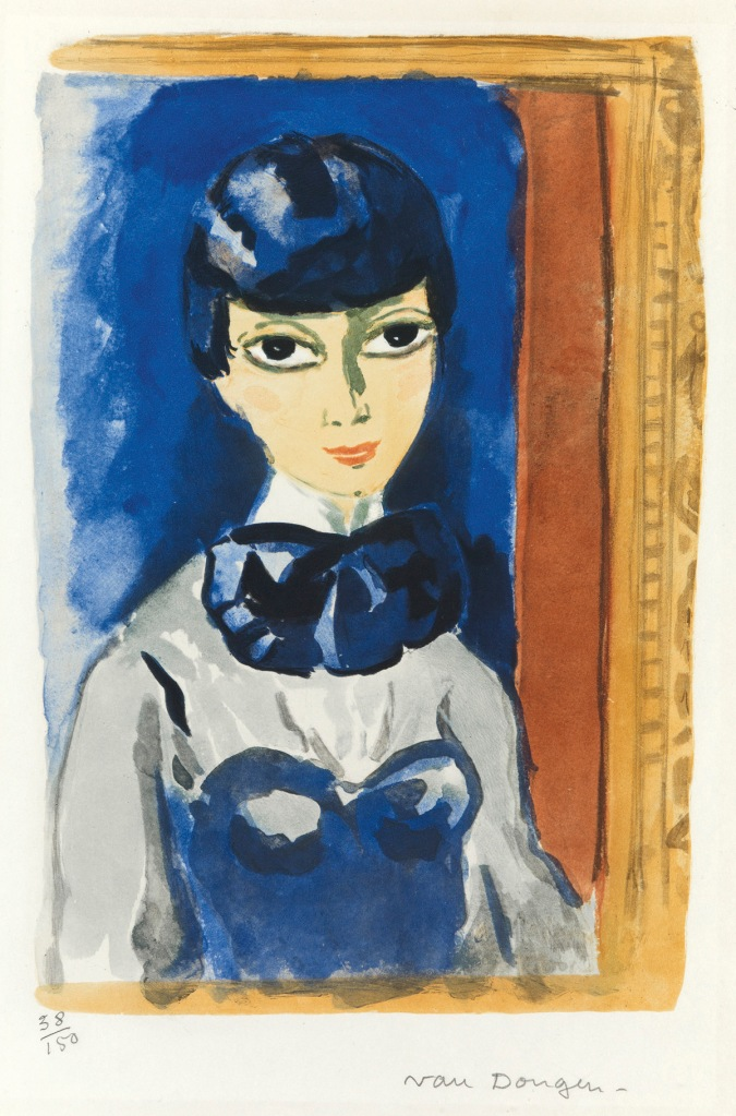 Painting of a woman wearing a gray and blue dress, decorated with a big blue bow on her neck and a blue hair on her head, all inside a painted ochre frame. Painted by Kees van Dongen.