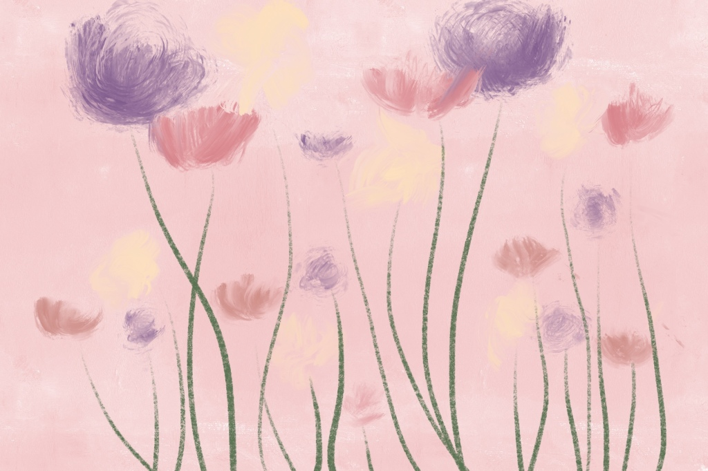 Painting of pink, violet, and creme flowers both short and tall with a pale pink background.