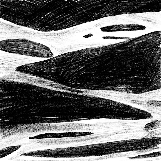 Digital black pencil drawing of a river, or a road with rocks on and around it.