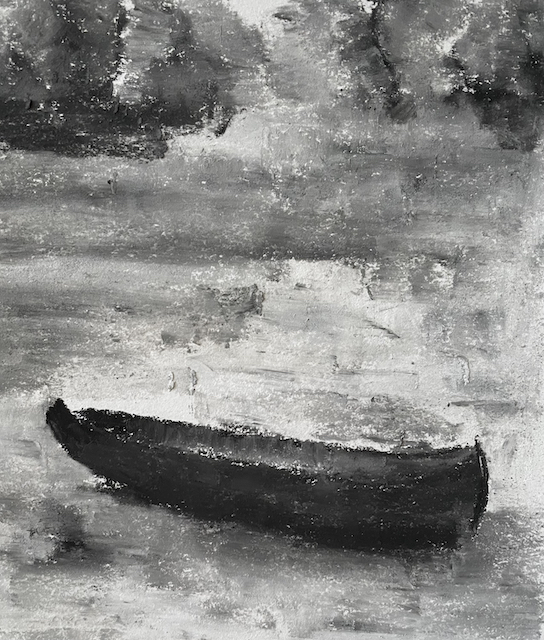 Soft pastel drawing of a canoe stuck in snow.