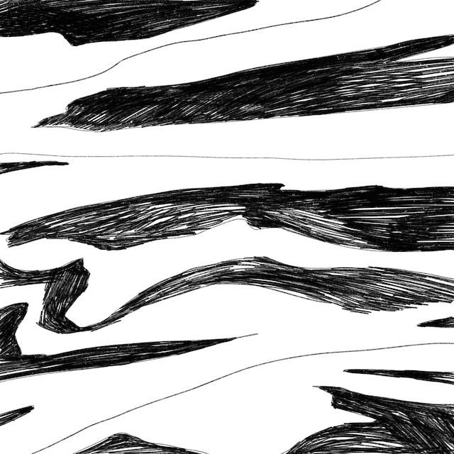 Digital art of white and black streaks on a white background.